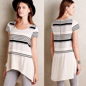 Anthro Deletta Gradient Striped Short Sleeved Top